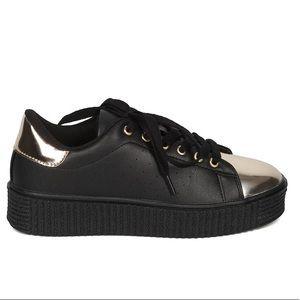 Gold Accent Black Platform Sneakers